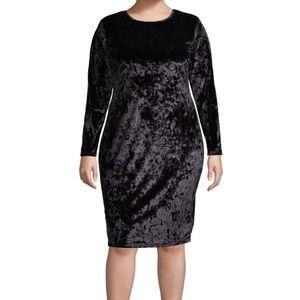 Michael Kors Plus Long-Sleeve Velvet Sheat Dress
